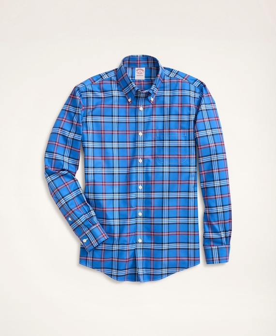 Madison Relaxed-Fit Non-Iron Stretch Twill Tartan Shirt Blue