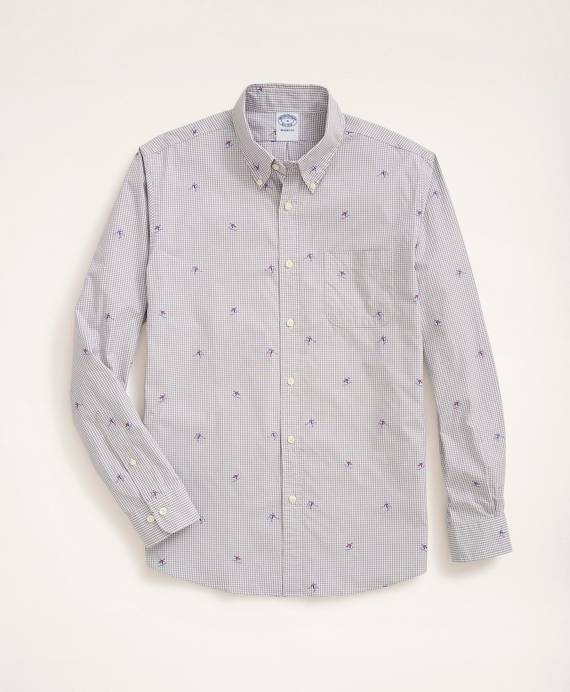 Regent Regular-Fit Sport Shirt, Gingham Ski Motif Grey