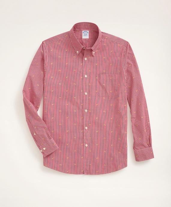 Regent Regular-Fit Sport Shirt, Gingham Dog Motif Red