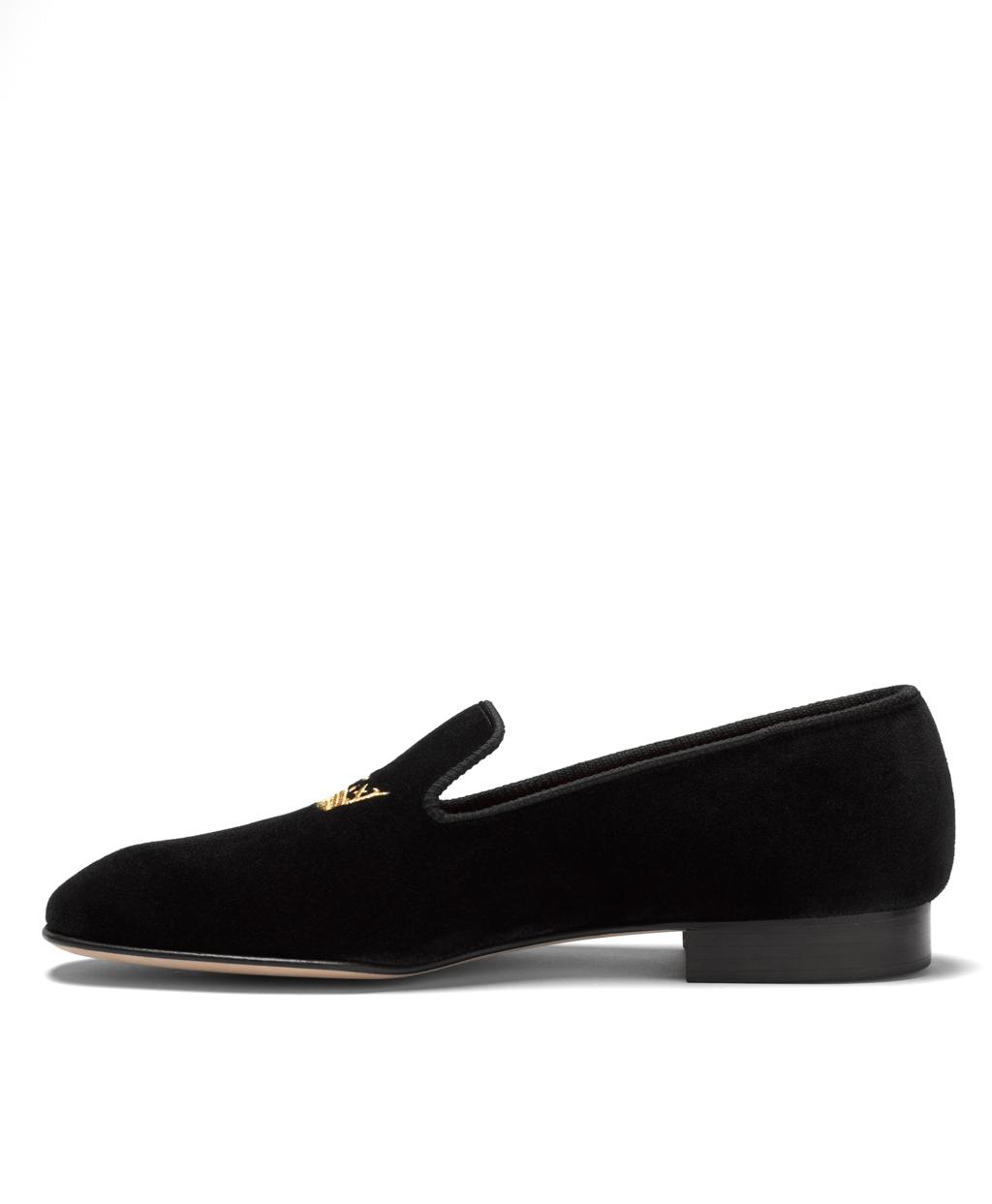 660ff99caa3 Men s Black Velvet Crown Slippers