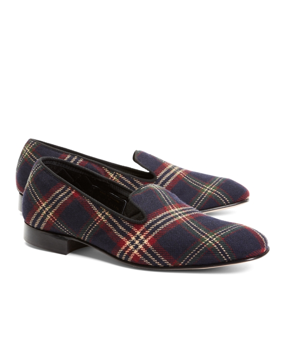 Signature Tartan Wool Slippers Navy