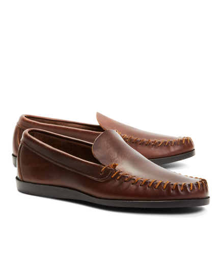Rancourt & Co. Leather Whipstitch Vent Loafers
