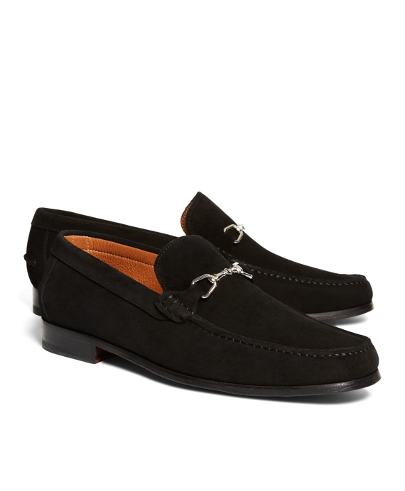 Suede Buckle Loafers Black