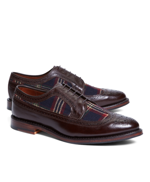 Leather and Wool Brogues with Signature Tartan Dark Brown-Navy-Red