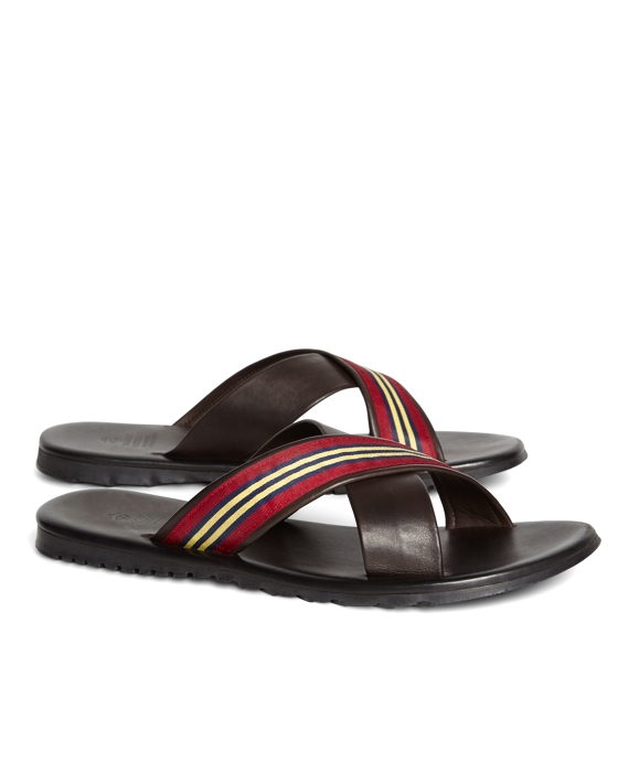 8664b8a788d3e Leather Criss-Cross Webb Flip-Flops - Brooks Brothers