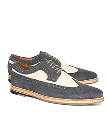 Suede and Canvas Saddle Wingtips
