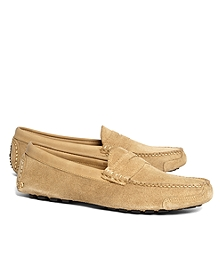 Horween Suede Penny Driving Moccasins