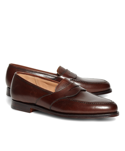 Peal & Co.® Dark Brown French Pebble Leather Saddle Strap Penny Loafers
