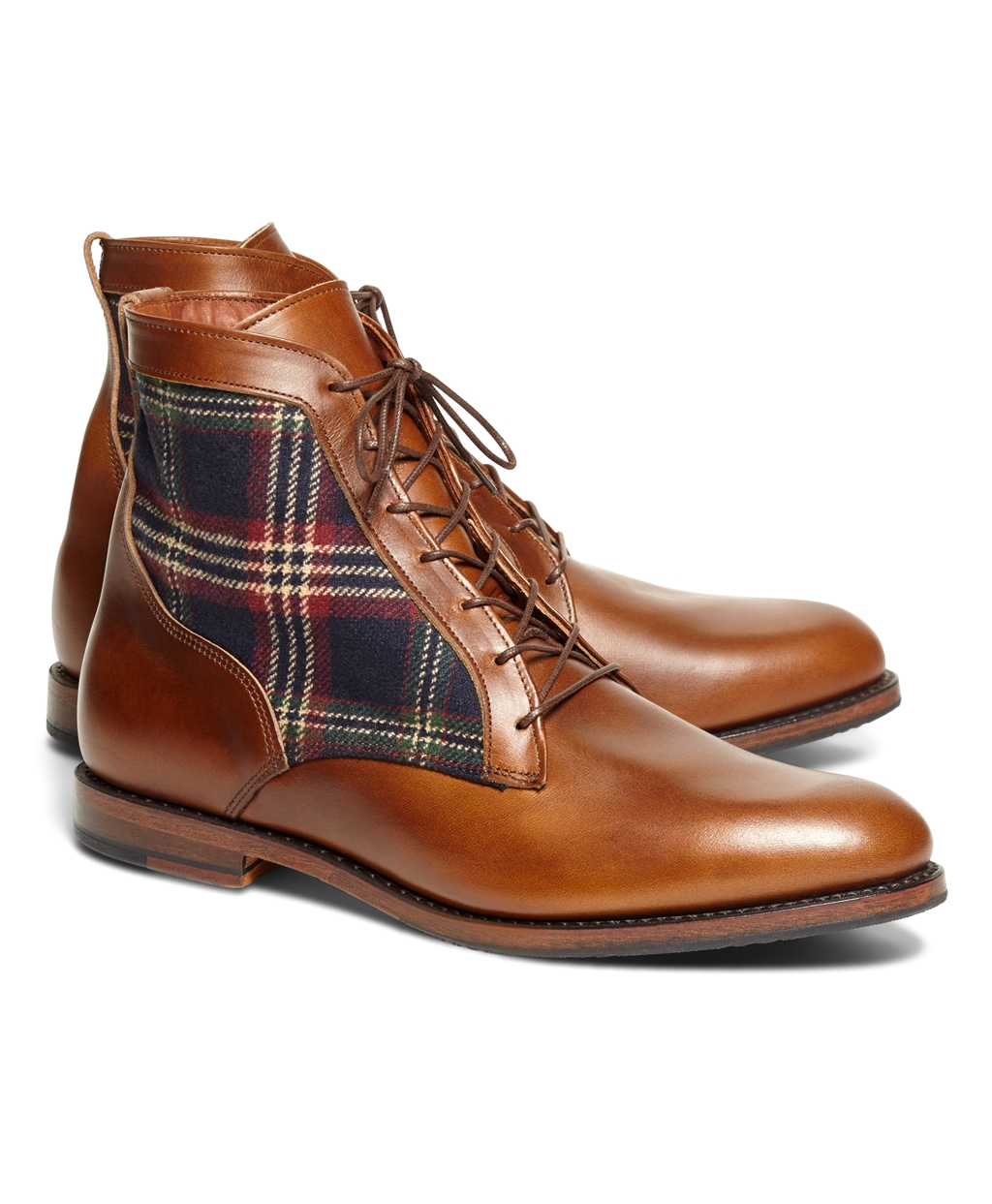 Brooks Brothers Men's Leather and Signature Tartan Boots