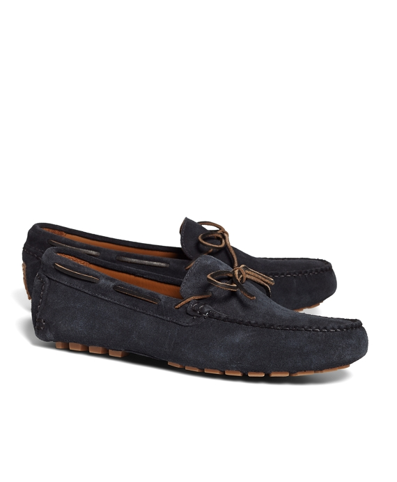 Suede Tie Driving Moccasins Navy