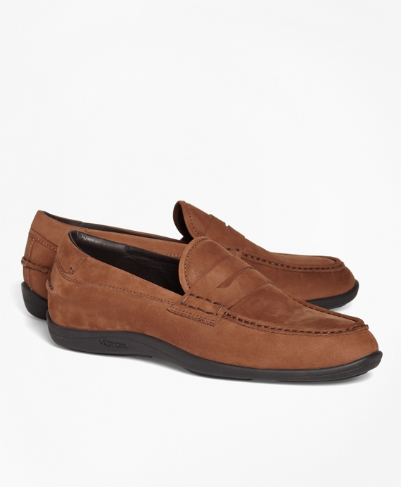 1818 Footwear Suede Penny Moccasins Copper
