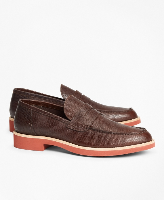 Textured Leather Penny Loafer Brown
