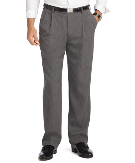 Madison Fit Pleat-Front Unfinished Gabardine Trousers