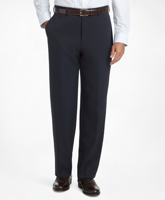 Madison Fit Flat-Front Classic Gabardine Trousers Navy