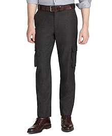 Milano Fit Plain-Front Donegal Tweed Trousers