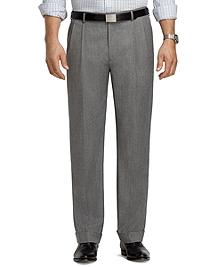 Madison Fit Pleat-Front Grey Mini Herringbone Trousers