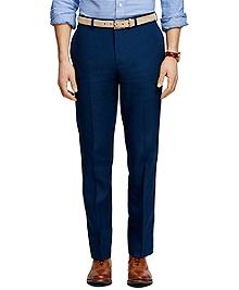 Fitzgerald Fit Plain-Front Linen Dress Trousers
