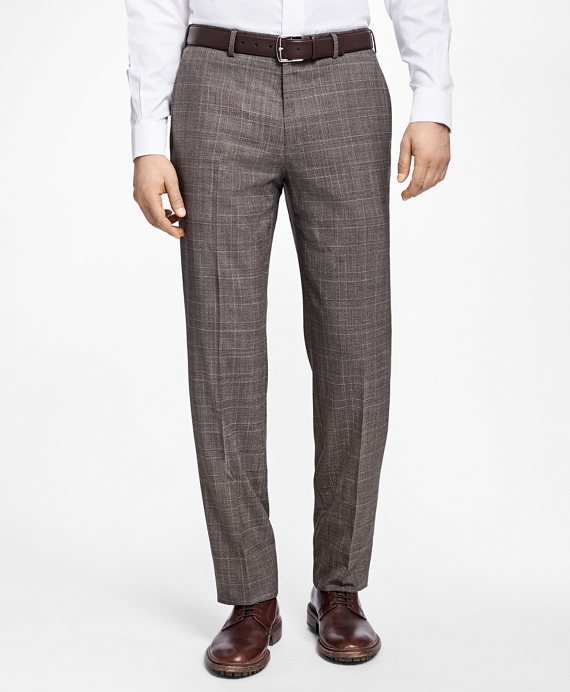 Regent Fit Plaid Trousers Brown