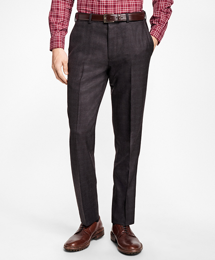 Regent Fit Brown Plaid Trousers