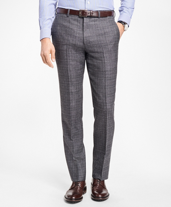 Regent Fit Grey Plaid Trousers Grey