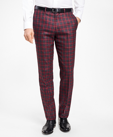 Regent Fit Red and Grey Plaid Trousers