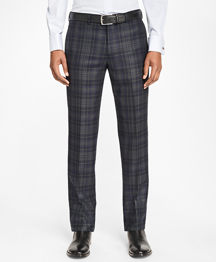 Milano Fit Navy and Green Plaid Trousers