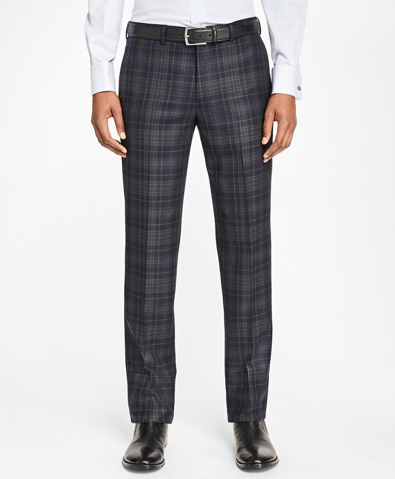 Milano Fit Navy and Green Plaid Trousers Navy-Green