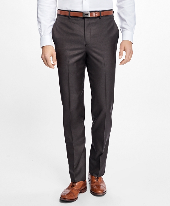 Regent Fit Stretch Wool Trousers Brown