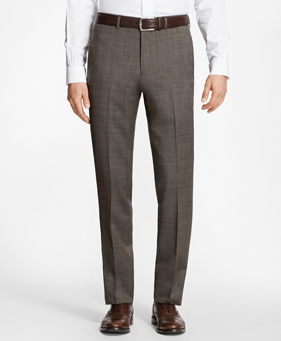 Regent Fit Wool and Mohair Trousers Brown