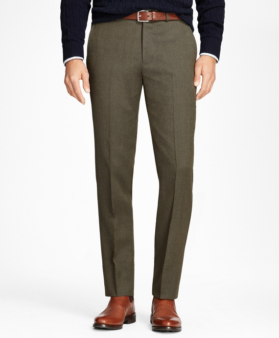 Regent Fit Whipcord Wool Trousers Olive