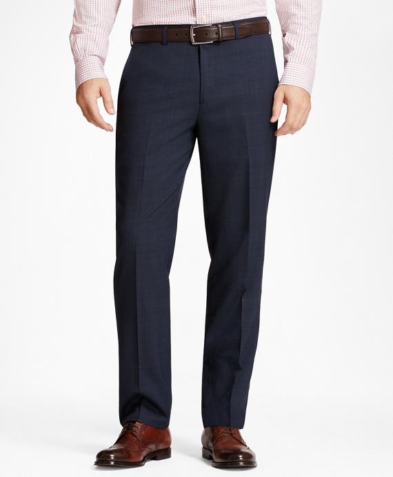 Regent Fit Plaid Trousers Navy