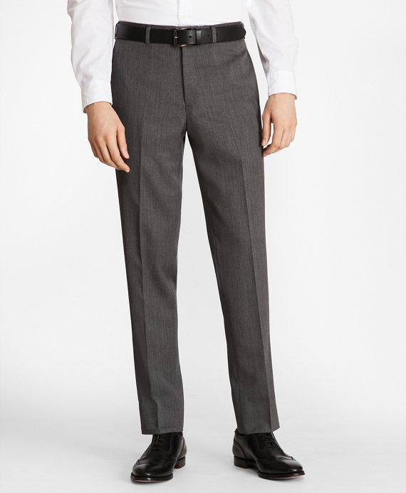 Milano Fit Flat-Front Classic Gabardine Trousers Light Grey