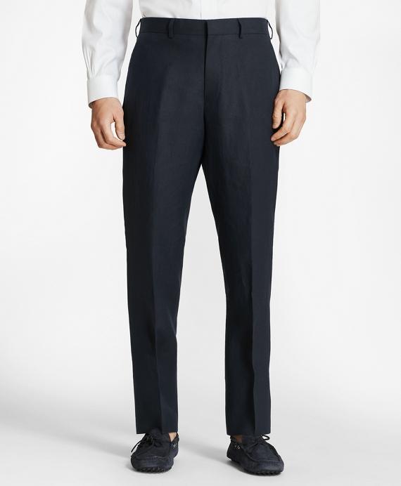 Regent Fit Linen Trousers Navy