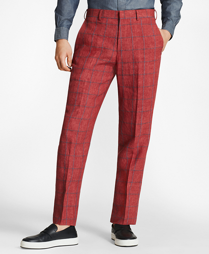 Regent Fit Windowpane Linen Trousers