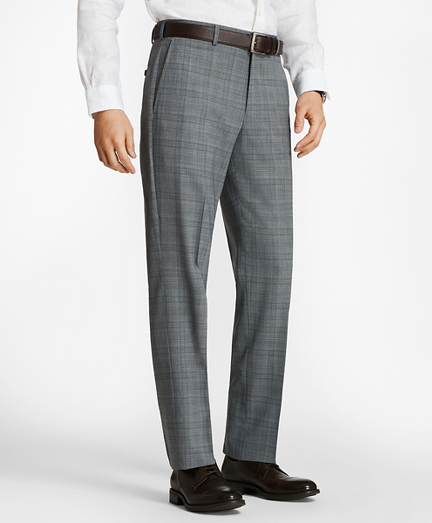 Regent Fit BrooksCool® Plaid Trousers