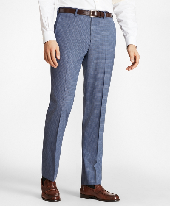 Regent Fit BrooksCool® Micro-Check Trousers Blue-Grey