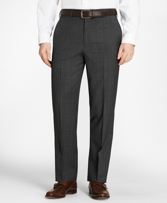 Madison Fit Plaid Trousers Charcoal