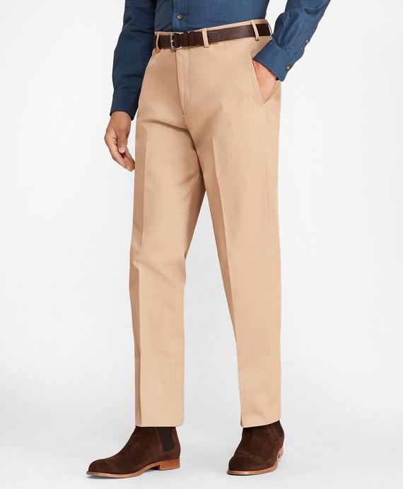 Regent Fit Cotton Stretch Trousers Tan