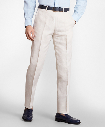 Regent Fit Cotton and Linen Trousers