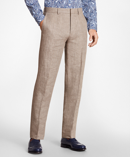 Regent Fit Brown Linen Trousers