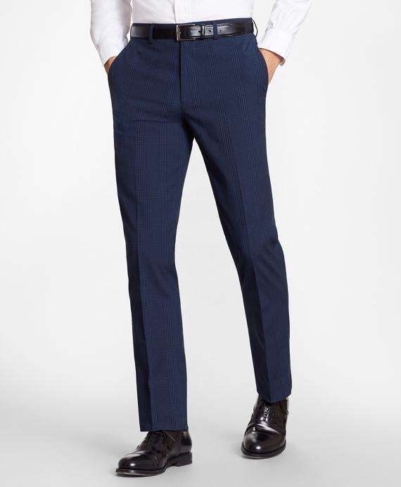 Regent Fit Check Seersucker Trousers Navy