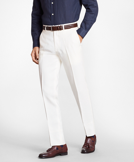 Regent Fit White  Linen Trousers