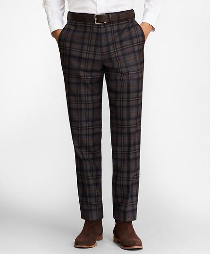 Regent Fit Plaid Wool Trousers