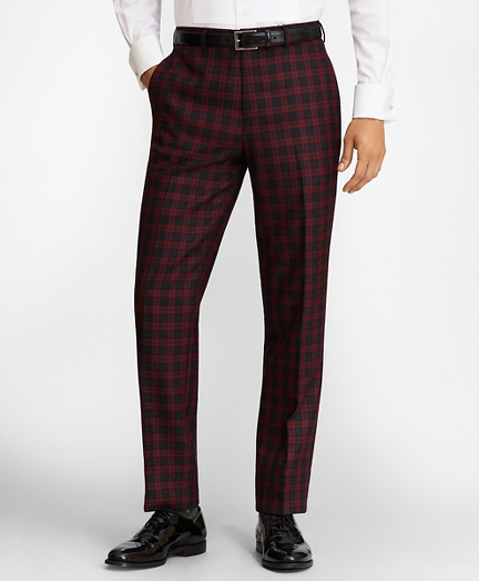 Regent Fit Red Plaid Wool Trousers