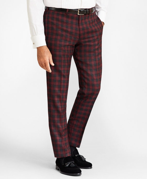 Madison Fit Red Plaid Wool Trousers Red