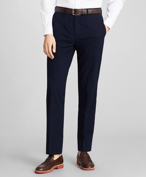 Regent Fit Seersucker Trousers Navy