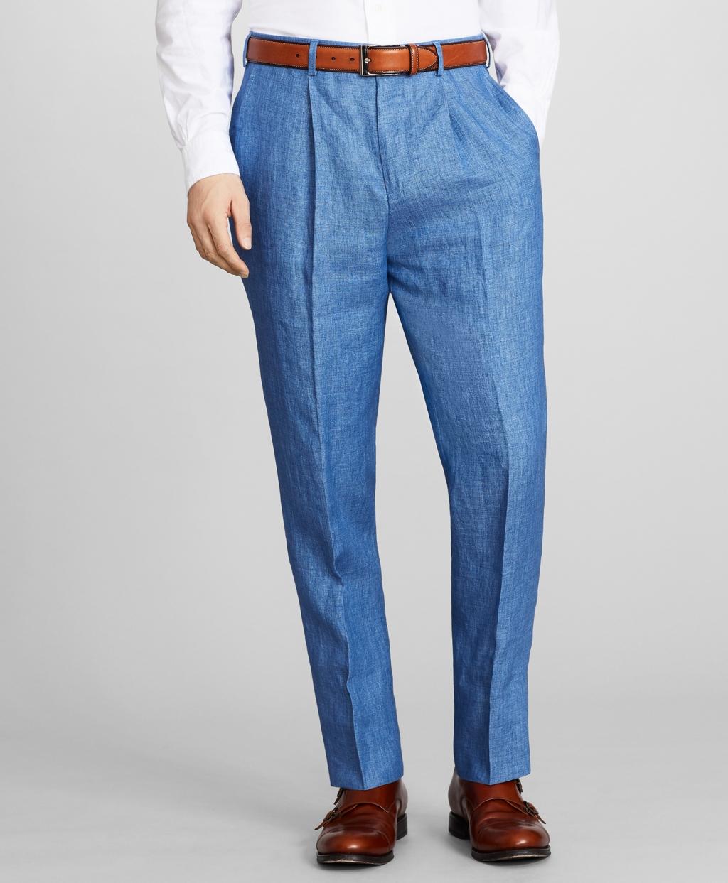 Men's Vintage Pants, Trousers, Jeans, Overalls Brooks Brothers Mens Slim Fit Single-Pleat Linen Trousers $198.00 AT vintagedancer.com