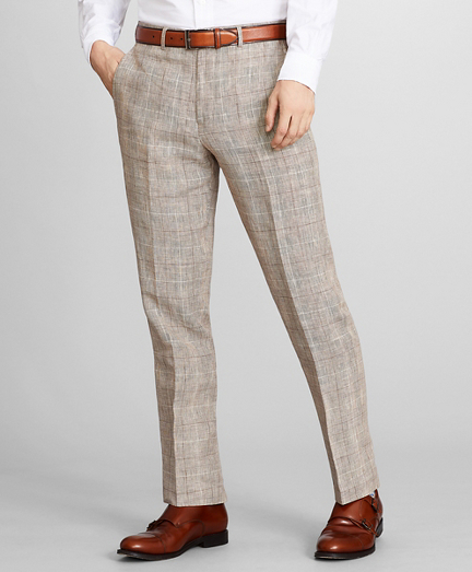 Regent Fit Check Linen Trousers