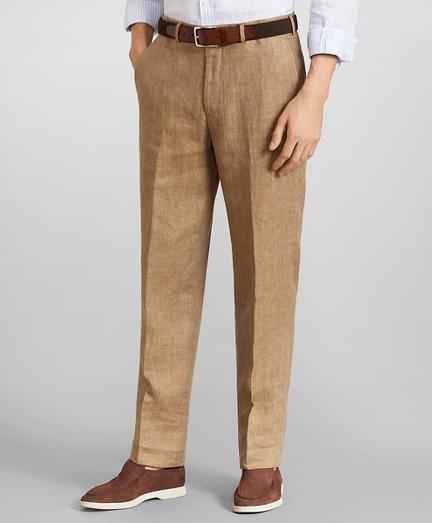 Regent Fit Herringbone Linen Trousers