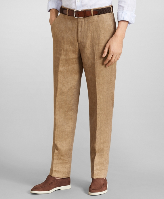 Regent Fit Herringbone Linen Trousers Khaki